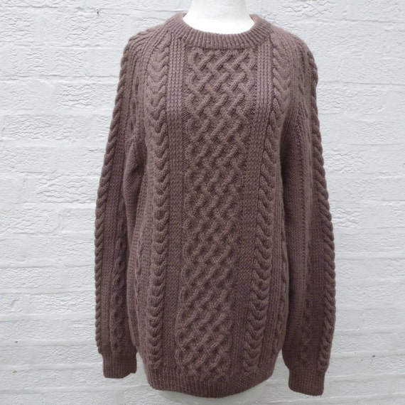Sweater fishermans aran jumper cable 80s knit winter sweater vintage clothes oversized boyfriend chunky sweater mens gift brown wool jumper. CpMlJm