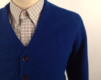 Vintage Blue Cardigan Made by Brent Size Large