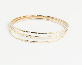 Set of 3, 14K Gold Filled Bangle, Yellow Gold Bangle Bracelets, Simple Bangle Bracelet, Hammered Gold Bangles, Minimalist Bangles