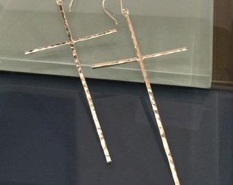 Long Cross Earrings, Cross Earrings, Sterling Silver Cross Earrings