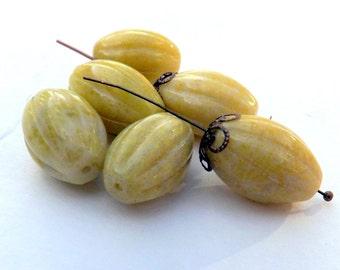 Large  Jasper Melon  Beads Yellow Peridot  Jasper Beads Mammoth Melon beads 14x20 mm 6 pieces
