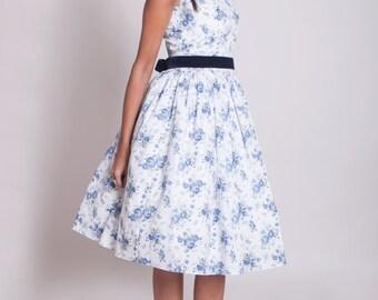 1950s floral prom dress, 50s bridesmaid dress, blue floral party dress, pinup tea party dress, floral rehearsal dinner dress, graduation