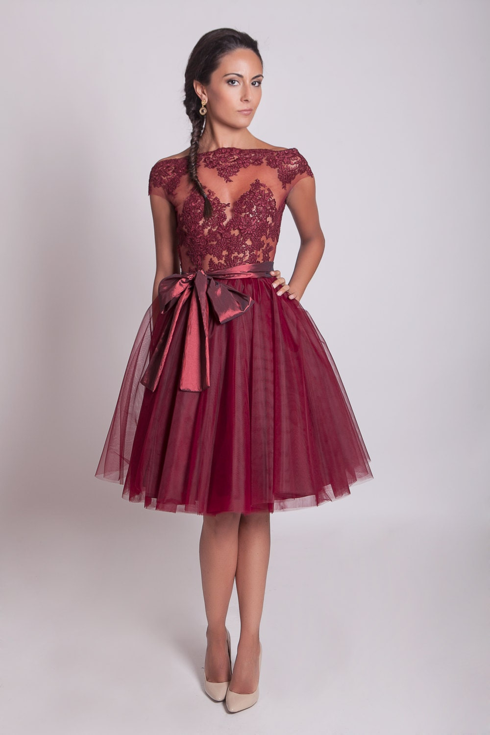 50s style lace prom dress burgundy lace dress tulle zoom ombrellifo Choice Image