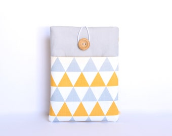 """Kindle Cover, Kindle Paperwhite case,  Kindle Voyage, Custom Padded Sleeve for 6-7"""" Ereaders - Yellow and Grey Geometric"""
