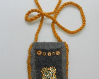 Hand Knit Grey Black and Sunflower Gold Felt Shoulder Bag - Let the Sun Shine In