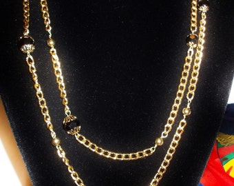 CHAIN NECKLACE, Downton Abby Style, Beads Hand Wired, Length 60 inches, Retro Modern Long, great Stylish Valentine Gift