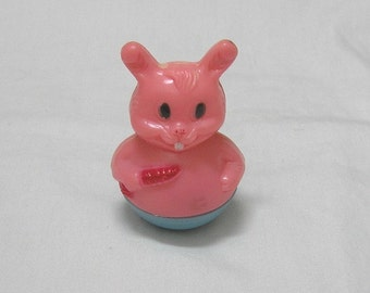 1960s Vintage Weighted Rabbit Baby Toy, Pink & Blue, Made in Hong Kong, Vintage Toys, Baby Nursery Decor, 1960s Baby Toy, Rabbit Toy
