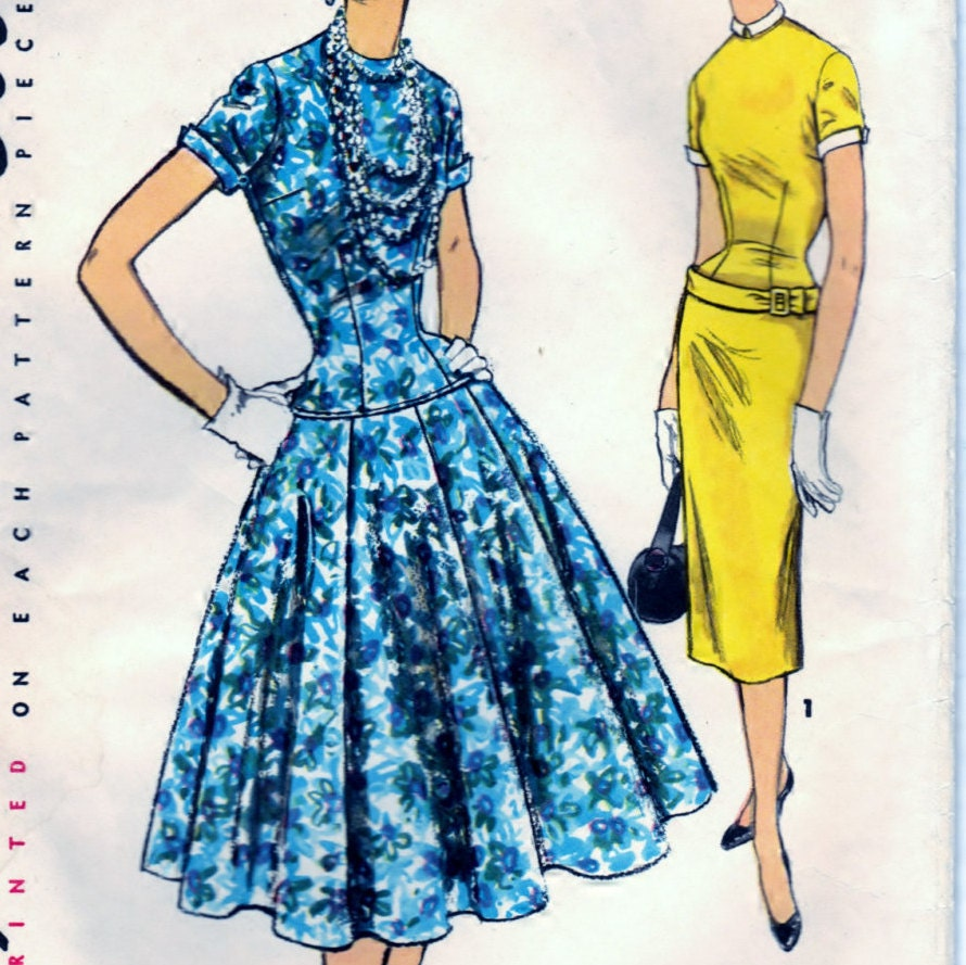 Misses 39 one piece dress with two skirts size 14 bust 32 for Simplicity craft pattern 4993