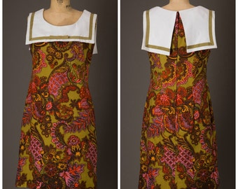1960s Olive Green and Pink Paisley Print Dress | New Old Stock