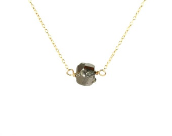 Pyrite necklace - rock necklace - crystal necklace - mineral - fools gold - A raw pyrite nugget wire wrapped onto a 14k gold vermeil chain