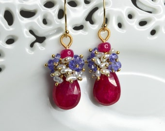 Ruby Gold-filled Earrings with Tanzanite and Japanese Keshi Pearl
