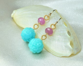 Gemmy Peruvian Blue Carved Amazonite with Pink Sapphire Earrings