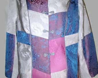 Silk jacket from vintage kimono, gray, mauve and blue patchwork, size large. One of a Kind
