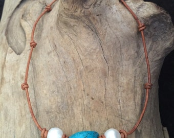 Turquoise and Freshwater Pearl and Leather Necklace, Leather and Pearls