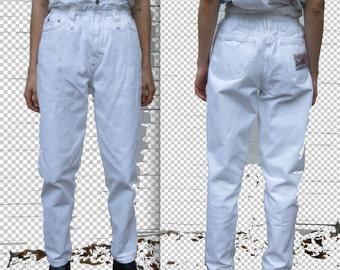 sale+++ 80s vtg white denim high waist pants sz S/ eu 38