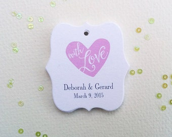 Personalized Wedding Tags, With Love Wedding Gift Tags, Thank You Tags For Weddings, Custom made tags, Set of 25