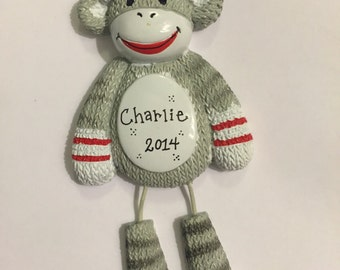 Sock Monkey Personalized Christmas Ornament