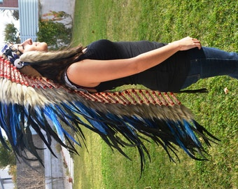 PRICE REDUCED Z07 Extra Large Electric Blue Feather Headdress (43 inch long )