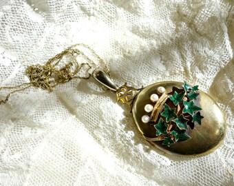 SALE Antique 14k Gold Pearl Enamel Locket , Art Nouveau Gold Locket, Rare Antique Photo Locket NOW 685.00 WAS 725