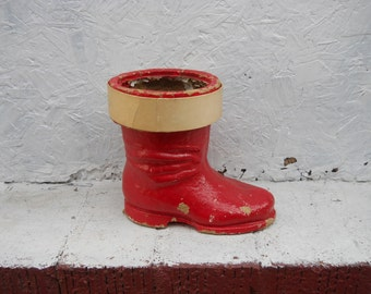 Paper Mache Christmas Boot. , Santa Clauses Boot