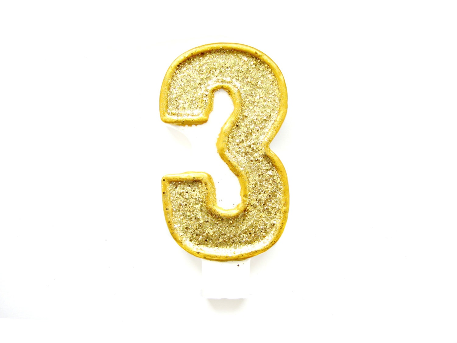 Giant Gold Glitter Number 3 Birthday Candle