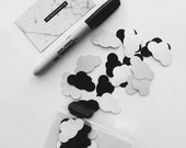 Cloud Confetti Pack of 50 // Black and Silver Glitter Mix // Party Wedding Baby Engagement Nordic