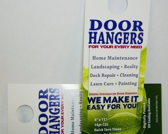 "Printed Door Hangers, 250 Custom Full Color, Large  4"" x 11""  size"