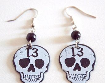 White Thirteen 13 Skull Guitar Pick Earrings with Beads