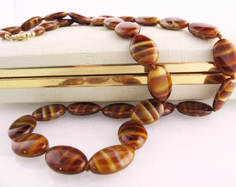 Vintage Tiger Stripes Oval Glass Bead Necklace, Retro Hand Made Necklace