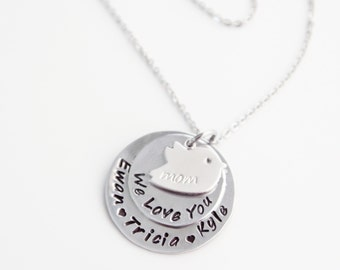 Hand Stamped Bird Jewelry, Mother, Grandma, Custom Stamped, Birdie Necklace