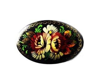 Vintage USSR Russian  Khokhloma Flower Lacquered handpainted Wood Pin - UBA HOBA