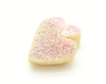 Handmade Scottish Vanilla Mini Love Heart Pink Glitter Shortbread Biscuit Cookie Wedding Favor Favour Gluten Free Mothers Day Birthday  Gift