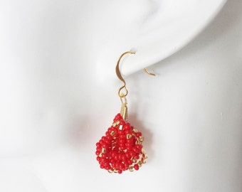 Red and gold earrings, seed bead earring, beaded earrings, seed bead earrings, valentines earrings, knot earrings,bridesmaid gift,gift ideas