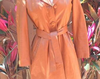 Vintage SpyGirl Mod Retro Tan Leather Beleted Trech Coat  60s 70s Jacket Coat Small Medium