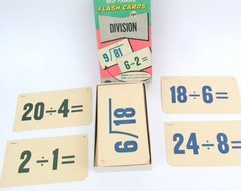 Vintage Large Division Flash Cards by Whitman Publishing Co. 1959