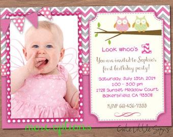 Owl Birthday Invitation Digital Download
