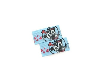 Minnie And Mickey Mouse Hair Clips/ Baby Girl Hair Clips/ Love Hair Clips/ Disney Hair Clips/ Heart Hair Clips/ Baby Blue Hair Clips