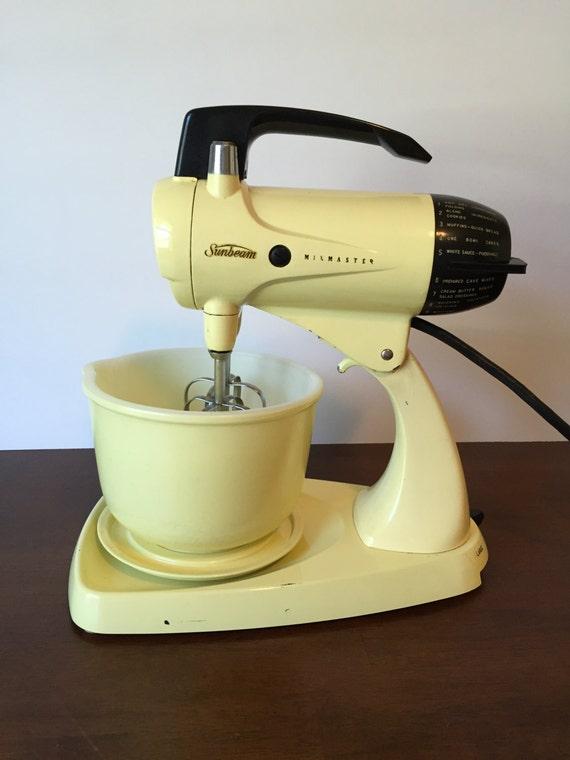 Sunbeam Electric Stand Mixer ~ Vintage yellow sunbeam mixmaster twelve speed electric small