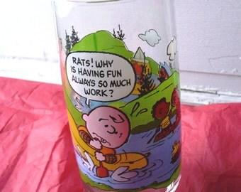 Vintage Camp Snoopy Peanuts Charlie Brown Mcdonald S Glass