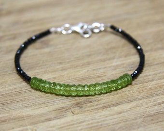 Diamond Look Natural Black Spinel and Peridot Bracelet in Solid Steriling Silver , August Birthstone , Healing Gems , Wedding , Bridal