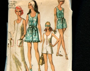 1970's Simplicity 8837 Beach Romper or Cover Up Size 18.5 UNCUT