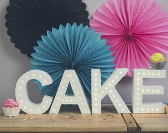 Cake table decor, wedding sign, light up initials, cake sign, Freestanding CAKE marquee letter light - battery operated