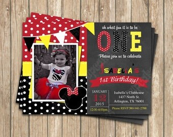 DIY Minnie Mouse 5  Red PRINTABLE Birthday party Invitation red black polka dots
