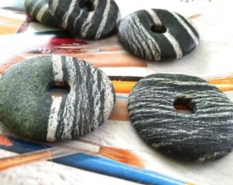 Zebra Jasper Donut Pendant, White Striped Serpentine Pendant, Brazilian Green Zebra Jasper, Green Gemstone Pendant, Large Opening, 2 Pcs