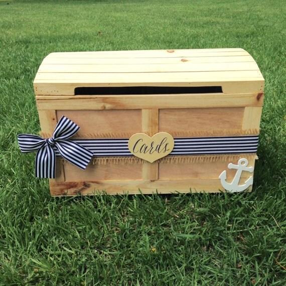 Nautical Wedding, Nautical Card Box, Wedding Card Box, Anchor Decor, Navy Wedding // CH06A