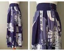 Vintage Zodiac Skirt Symbols Symbolism Printed Hippy Boho Navy Blue Midi Long Over the Knee Length Pleated Bohemian Size 6 8 10 Small Medium