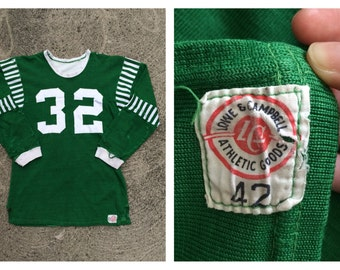 Vintage Antique 1930s 1940s Football Jersey Lowe and Campbell Sports Memorabilia Men's Green White Sport Shirt Raglan # 32 Size 42 Medium L