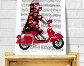 Sock Monkey on Moped - sock monkey wall art sock monkey wall décor Sock monkey room art for kids room Sock Monkey print kids room décor