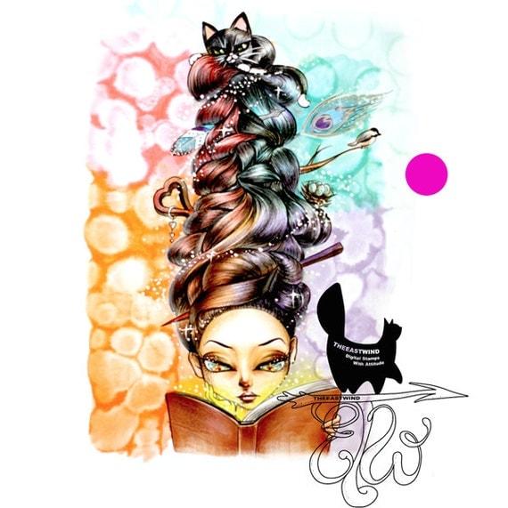 Digital Stamp- 'Lucy Loo' Bookaholic - 300dpi JPEG/ PNG - MAC0050