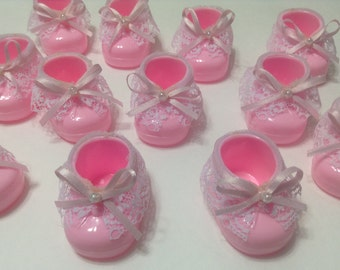 Pink Baby Girl Shower Booties Favors - Pink Baby Shower Favors - Baby Girl Shower Favor -  Baby Shower Favors - Set Of 12